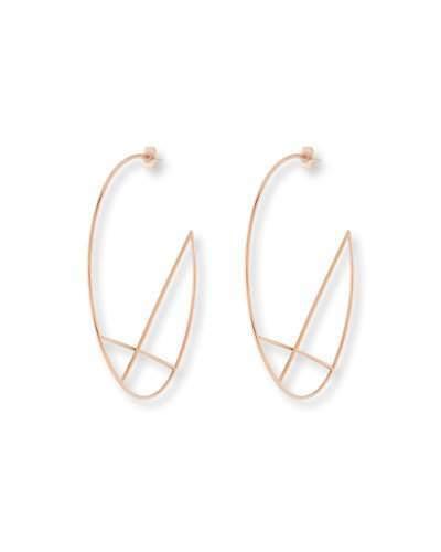 Lana 14k Wire Diagonal Cross Eclipse Hoop Earrings
