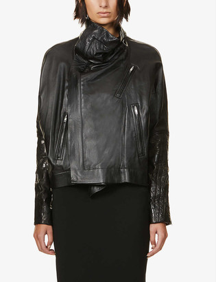 Rick Owens Jumbo high-neck leather jacket