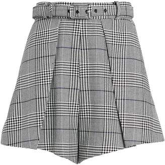 Self-Portrait Self Portrait Plaid Pleated High-Waist Shorts