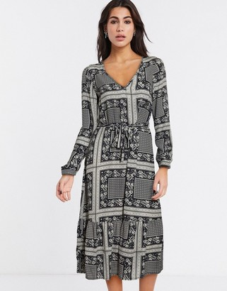 Vila boho midi dress in scarf print