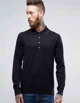 Paul Smith Knit Polo Long Sleeve in Black