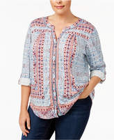 Style&Co. Style & Co Plus Size Printed Utility Shirt, Created for Macy's