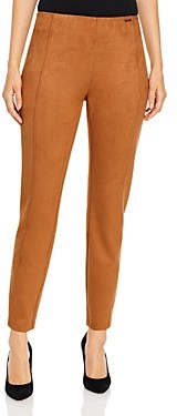 T Tahari Faux Suede Pull On Cigarette Pants