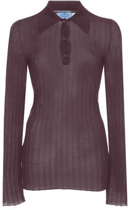 Prada Ribbed Knit Cashmere Silk Top