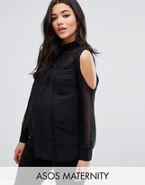 Asos Cold Shoulder Lace Trim and Pintuck Blouse