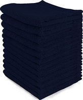 Ringspun Luxury Cotton Washcloths (12-Pack, Navy, 12x12 Inches) - Easy Care, Fingertip Towels, Facial Towelettes, Cotton Hand Towels - by Utopia Towels