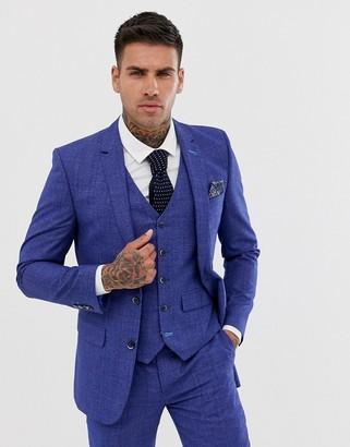 Harry Brown slim fit mid blue check suit jacket
