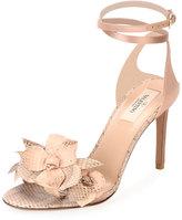 Valentino 3D Flower Snakeskin Sandal, Nude