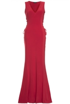 Quiz Red V Neck Lace Up Maxi Dress