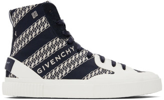 Givenchy Navy Chain Tennis Light High-Top Sneakers