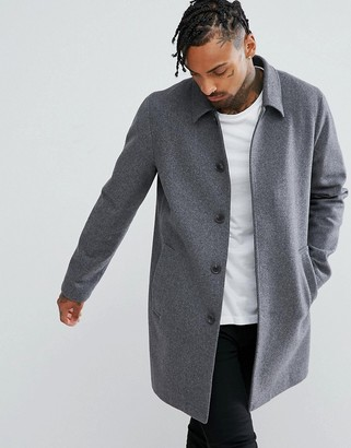 ASOS DESIGN wool mix trench coat in light gray