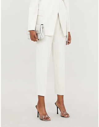 Pinko Frullato cropped high-rise tapered crepe trousers