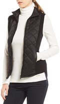 Jones New York Quilted Sateen Front Ribbed Sweater Vest