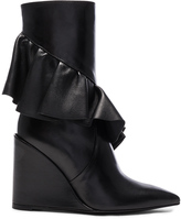 J.W.Anderson Mid Calf Leather Ruffle Boots