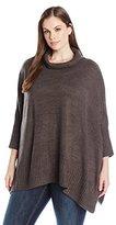 Jones New York Women's Plus Size Turtleneck Poncho Sweater