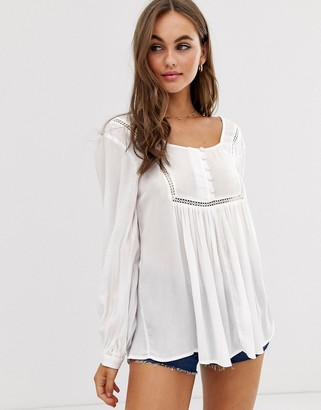 Asos Design DESIGN smock top with button front detail in crinkle-White