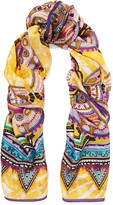 Roberto Cavalli Printed silk-georgette scarf
