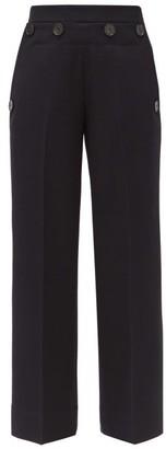 Jil Sander Wide-leg Button-panel Wool Trousers - Navy