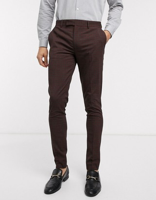 ASOS DESIGN wedding skinny suit trousers in mini check in burgundy and grey