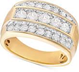 Macy's Men's Diamond Linear Cluster Ring (2 ct. t.w.) in 10k Gold