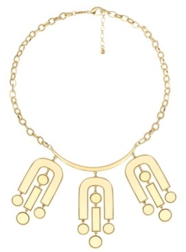 Trifari 14K Gold-Plated Mirror Statement Necklace