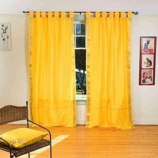 Indian Selections Yellow Tab Top Sheer Sari Curtain / Drape / Panel - Piece