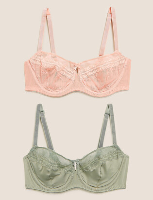 Marks and Spencer 2 Pack Embroidered Mesh Balcony Bras B-E