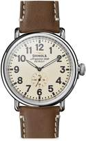 Shinola The Runwell Stainless Steel Leather Strap Watch