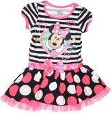 Disney Minnie Mouse Girls Striped Top Polka Dot Flounce Dress - Pink White Black
