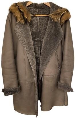 Ventcouvert Grey Leather Coat for Women