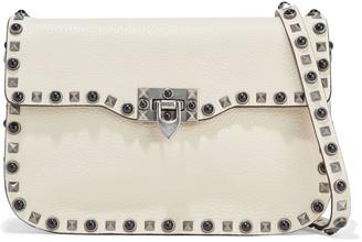 Valentino Rockstud Rolling Medium Textured-leather Shoulder Bag