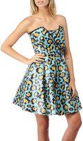 Sequin Leopard Strapless Dress