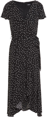 DKNY Wrap-effect Polka-dot Stretch-jersey Midi Dress