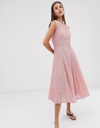 Asos stripe sleeveless midi dress with seam detail