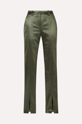 De La Vali Blues Stretch-satin Slim-leg Pants - Army green