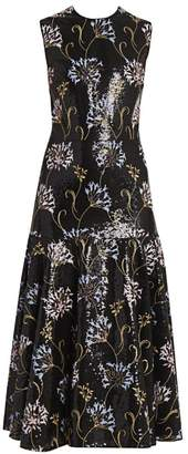 Giambattista Valli Floral Sequin-Embroidered Midi Dress