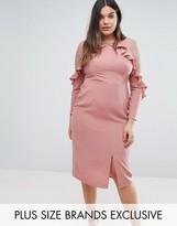 Truly You Ruffle Yoke Dress With Lace Insert
