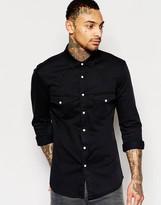 Asos Skinny Western Denim Shirt In Black With Long Sleeves