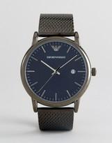 Emporio Armani AR11053 Mesh Strap Watch In Gunmetal 43mm