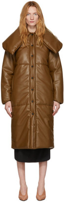 Materiel Tbilisi Brown Vegan Leather Puffer Coat