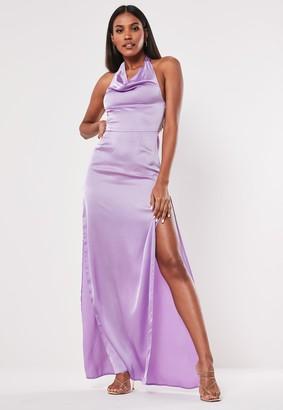 Missguided Lilac Satin Halterneck Maxi Dress