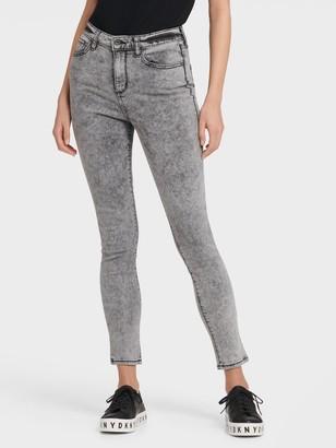 DKNY Women's High Rise Acid Wash Skinny Ankle Jean - Grey/Black - Size 30