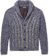Etro - Oversized Shawl-collar Distressed Mélange Wool Cardigan