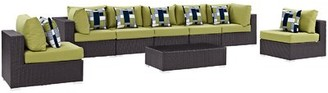 Brentwood 8 Piece Rattan Sectional Seating Group with Cushions Sol 72 Outdoor Fabric: Peridot