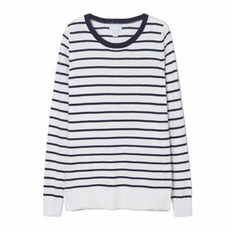 Ex Gap Navy Blue White Cotton Fine Knit Striped Jumper Sweater Top Size 6 10 12 (UK 12)