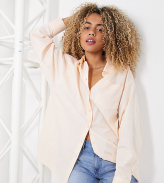 Collusion oversized shirt in peach