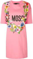 Love Moschino floral logo T-shirt dress