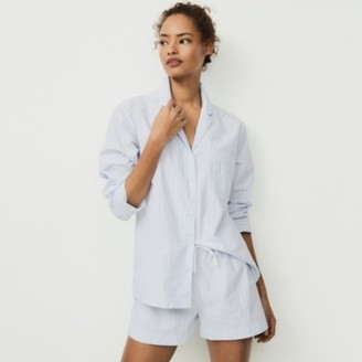 The White Company Cotton Chalk Stripe Pyjama Shorts, Blue Stripe, Extra Small