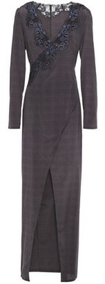 La Perla Lace-trimmed Houndstooth Stretch-silk Robe