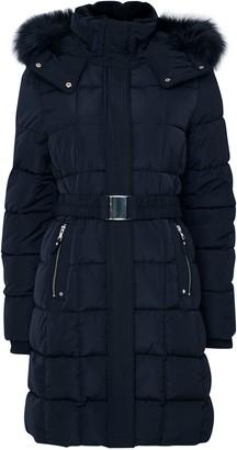Wallis Navy Faux Fur Collar Quilted Coat